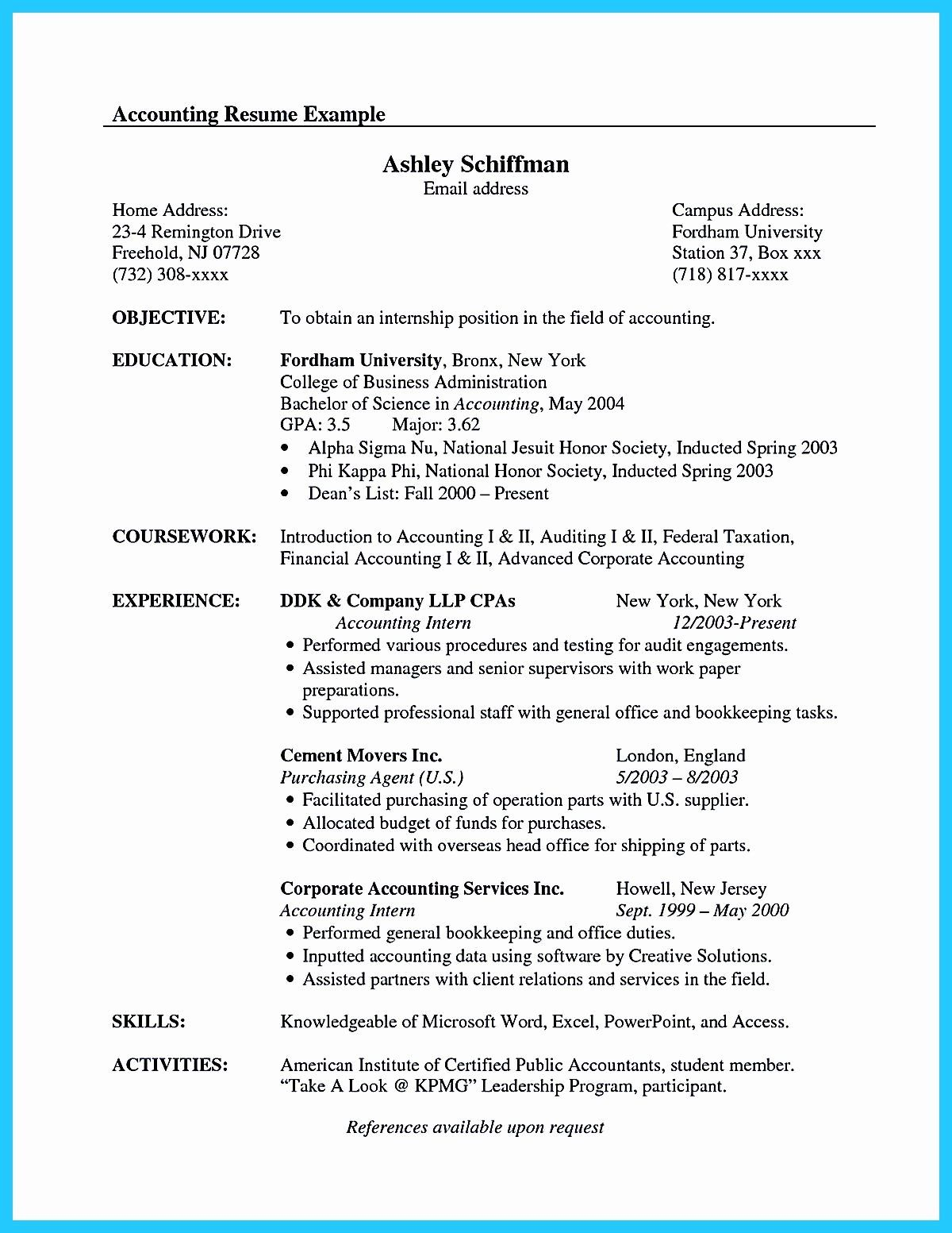 Accounting Graduate Resume No Experience Printable Resume Template Resume Examples Internship Resume Accountant Resume