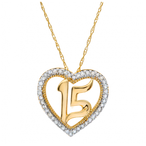 21bd79fca8ce 10k Yellow Gold Quinceañera Heart Pendant .15CTW. Quinceanera Jewelry.