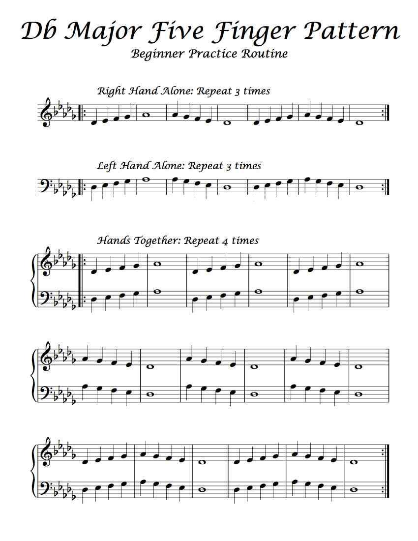 Free Sheet Music Beginning Practice Routine Of Db Major S Five