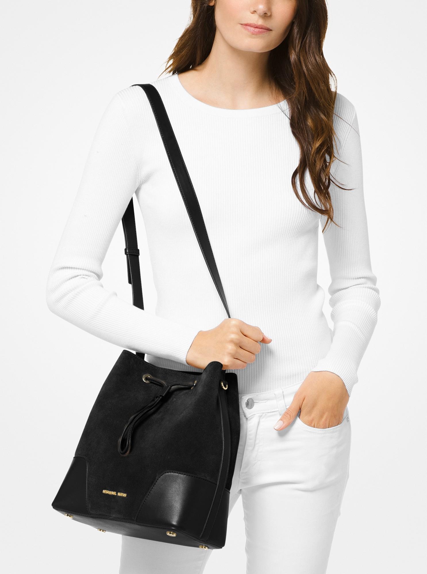 5b59b67d8887 Michael Kors Cary Medium Suede And Leather Bucket Bag - Maroon Oxbld