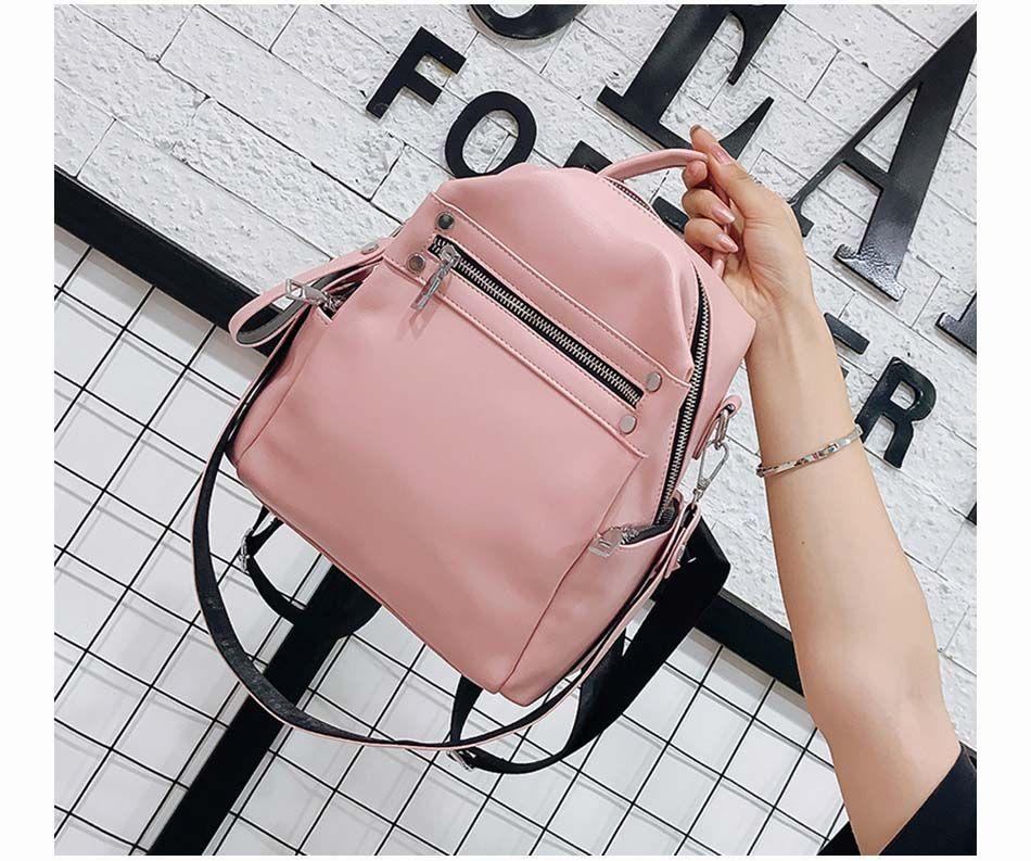Soft Leather Backpack Women Multi-Function Shoulder Bag Teenage Girls School Bag Female Solid Travel Bags