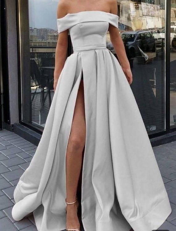 Off shoulder satin prom dress with side slit,african prom dress,maid of honor dress,wedding reception dress,african wedding dress