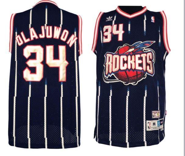 Adidas NBA Houston Rockets 34 Hakeem Olajuwon Soul Swingman Blue Jersey d9a73cf48