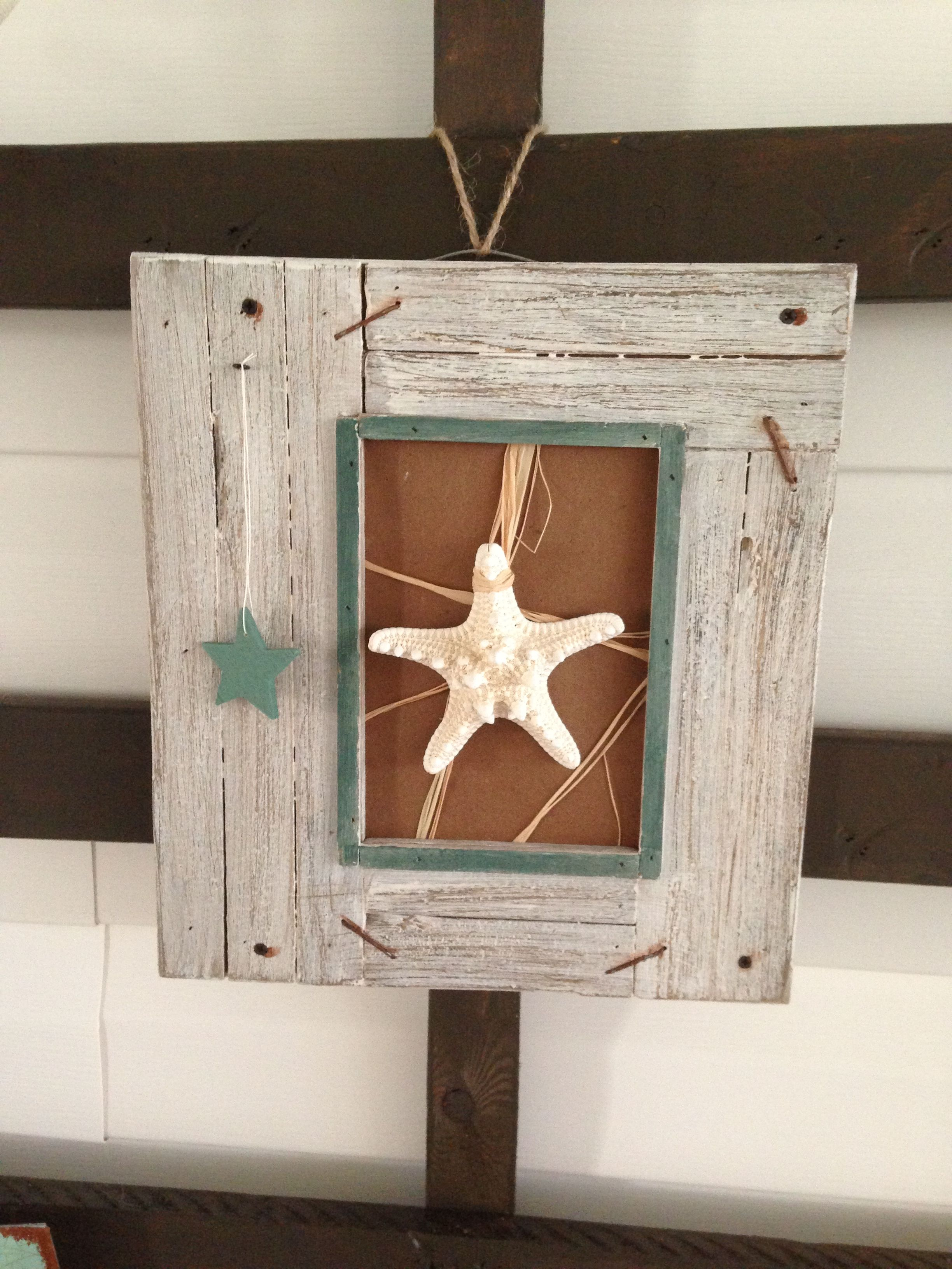 starfish on sand paper with raffia for the lanai Yes I did it myself :)