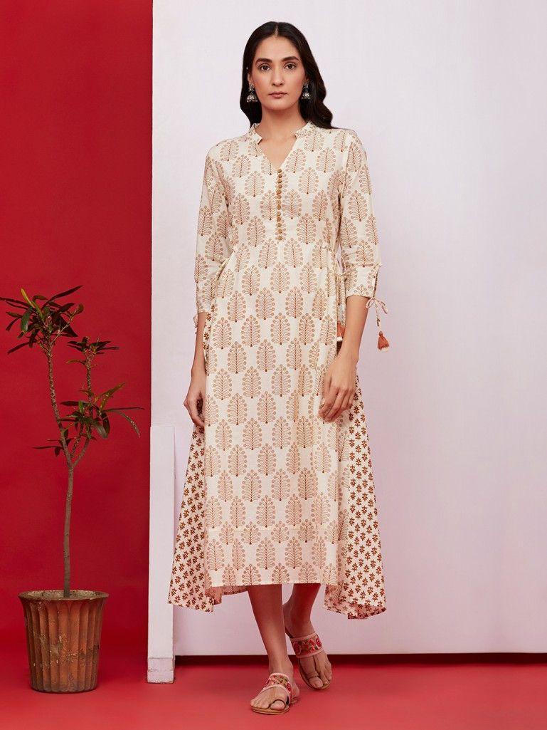 f3666818c240 Off White Brown Hand Block Printed Cotton Dress Cotton Dresses Online