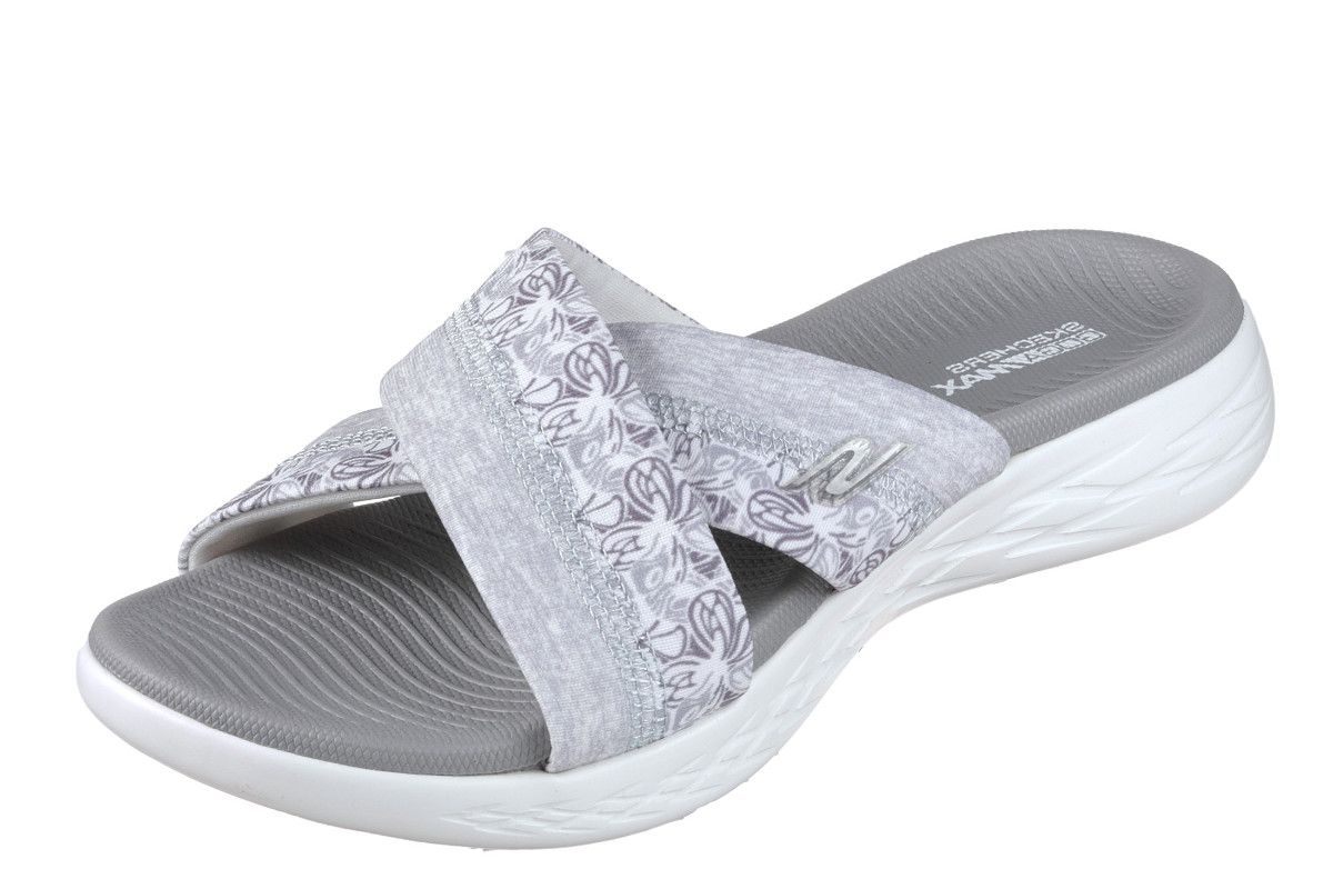 92c1313b2bb8ee Skechers On The Go 600 Monarch White Grey Floral Women s Comfort Sandals