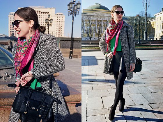 Get this look: http://lb.nu/look/6043721  More looks by Natasha Karpova: http://lb.nu/ms_natika  Items in this look:  H&M Skirt, Asos Ankle Boots, Asos Bag, Hermës Scarf   #mbfwrussia #bright