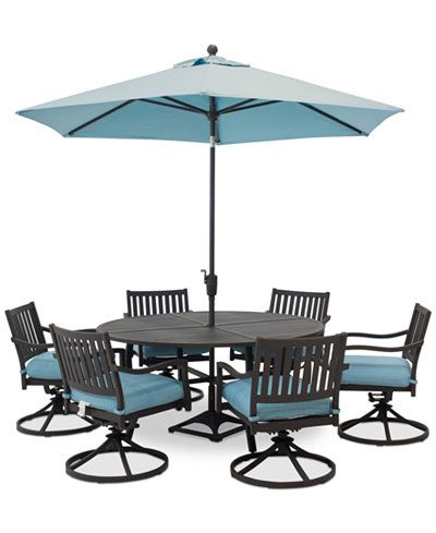 Closeout Holden Outdoor Aluminum 7 Pc Dining Set 60 60 Round