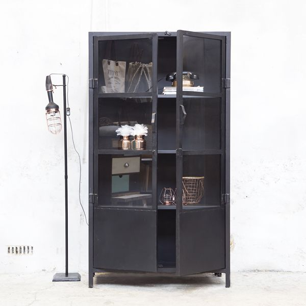 industrie design vitrinenschrank vitrine metallschrank. Black Bedroom Furniture Sets. Home Design Ideas