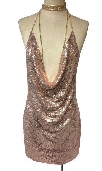 bc14b4e4 Birthday Suit Metallic Sequin Cowl Neck Side Split Spaghetti Strap Cut Out  Choker Neck Chain Mini Dress - Inspired by Kendall Jenner