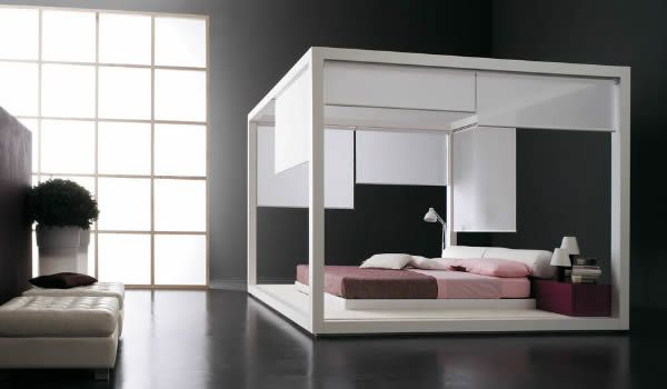 Design Ideen Himmelbetten schwarz wand rosa bettwäsche toll ...