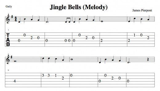 Easy Guitar Christmas Songs—Jingle Bells—Chords, Melody, Guitar ...