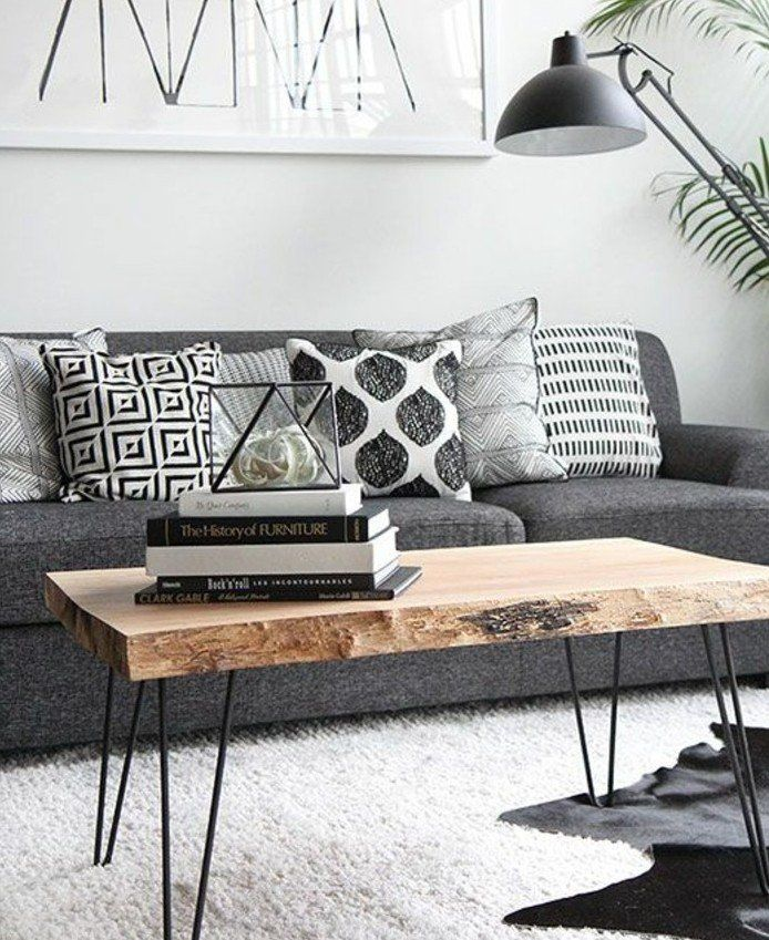 Tres Joli Salon Gris Et Blanc Idee Deco Sobre Style Scandinave Couleur  Peinture Canape Table Bois