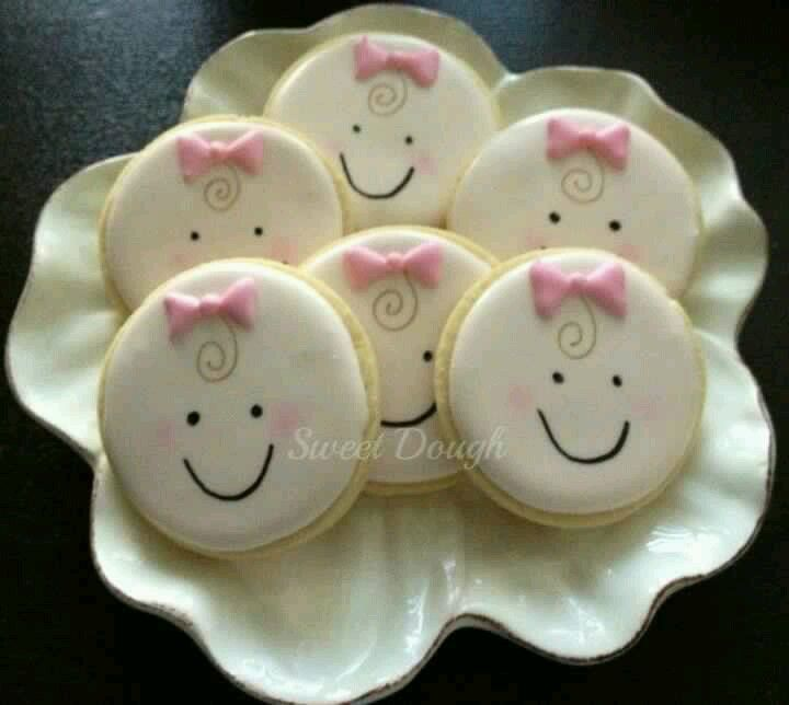 so cutebaby cookies using a round cookie cutter. great, Baby shower invitation