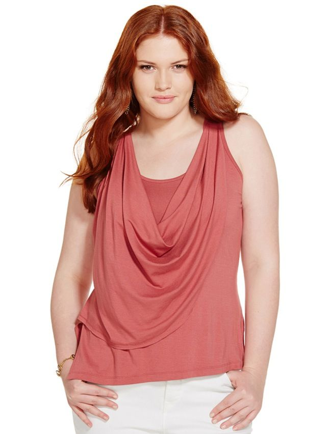 Sleeveless top Plus size clothing Tank top Plus size top Summer blouse Cowl top Cowl neck sleeveless blouse Crimson pink t-shirt