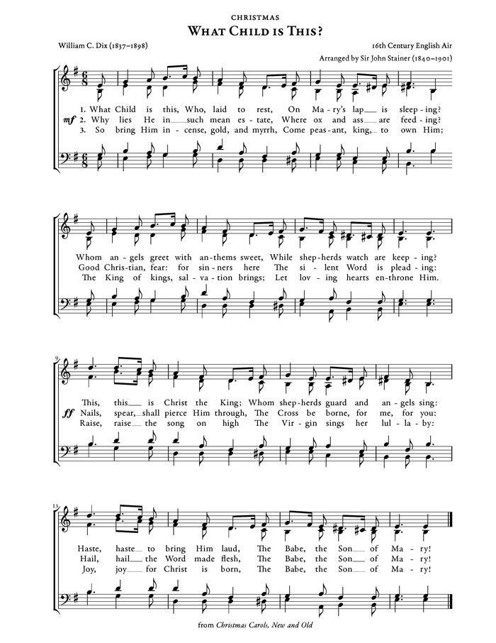 What Child Is This? Christmas Carol   Purple Kitty   Christmas sheet music, Christmas carols ...