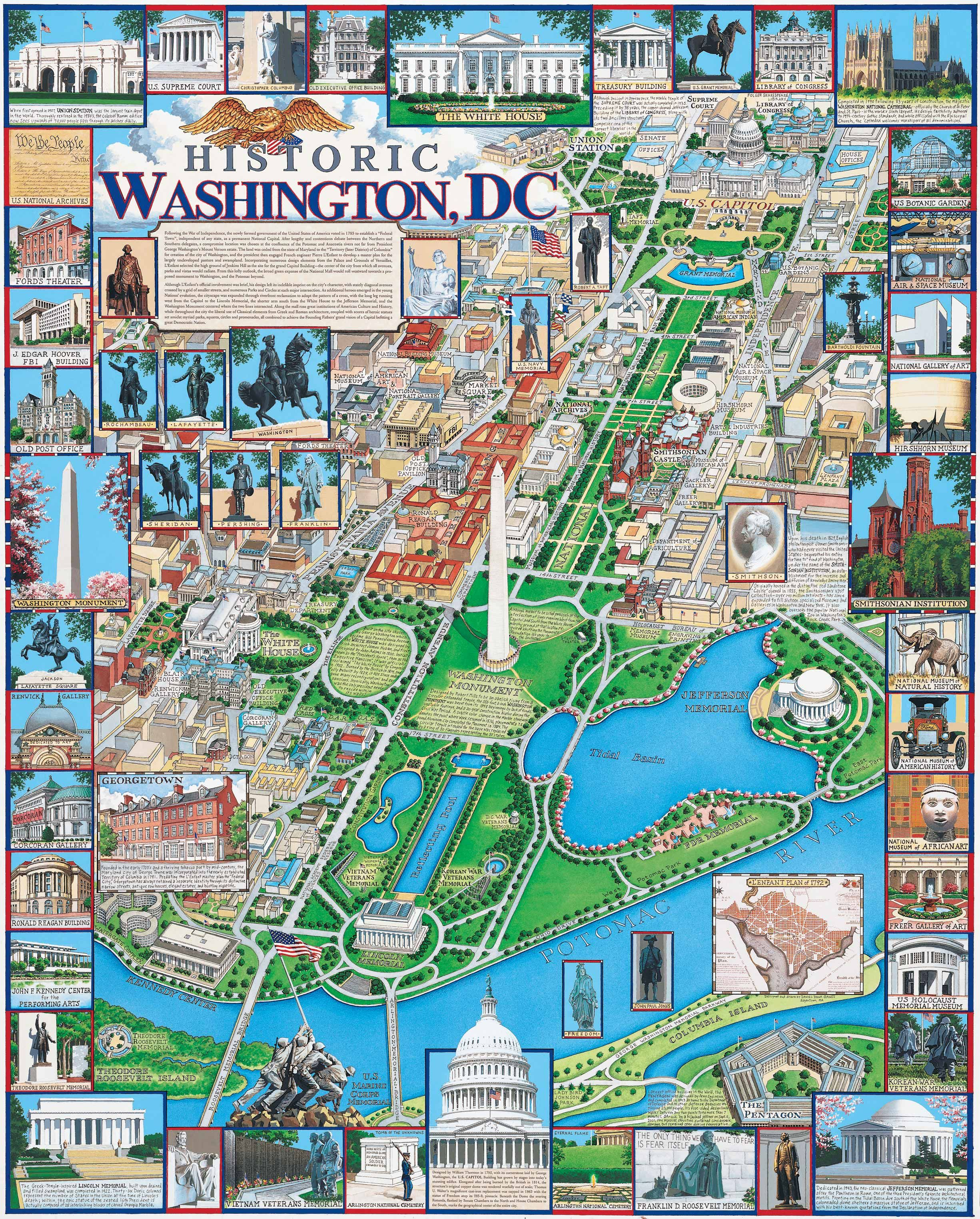 Washington DC By Dana Gaines Monuments Memorials  Museums - Washington dc ferry map
