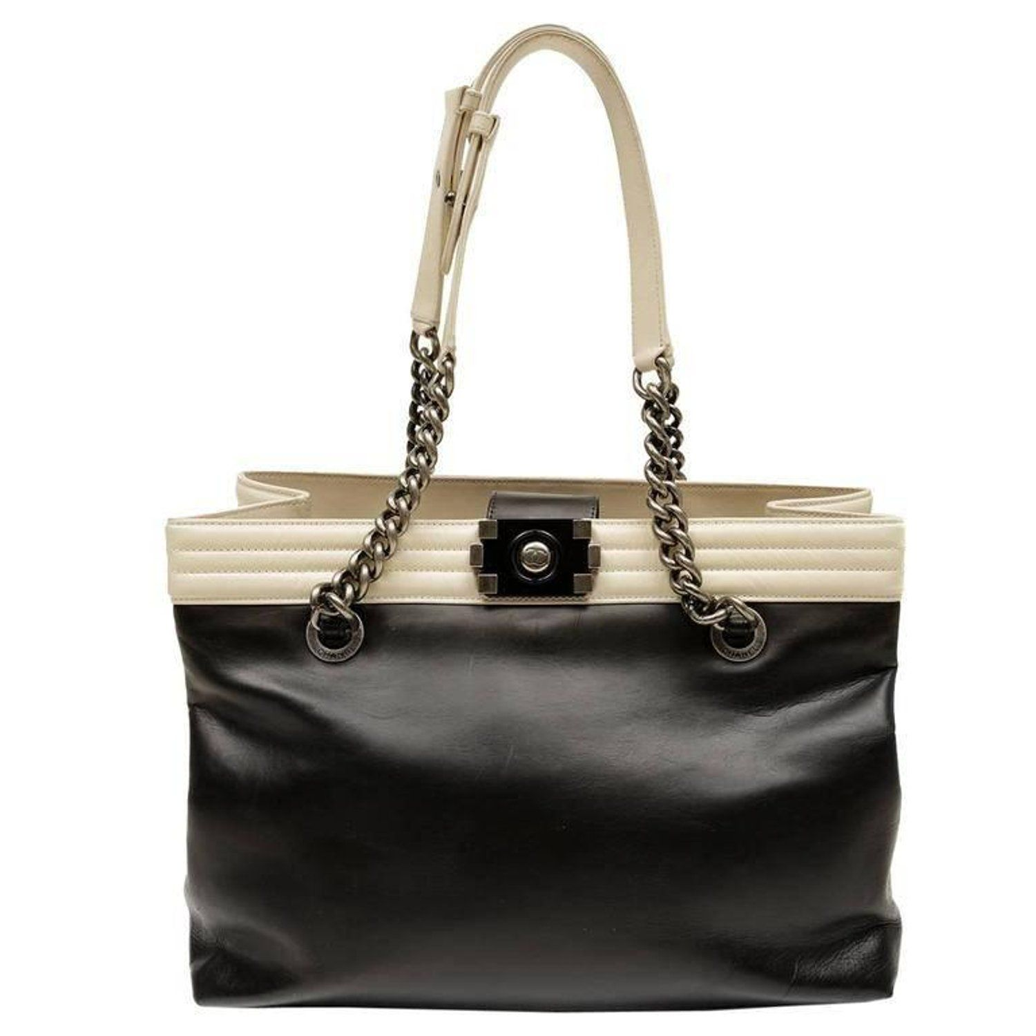 069c892a4dcc Chanel Black Cream Leather Boy Bag Tote Tote Bag