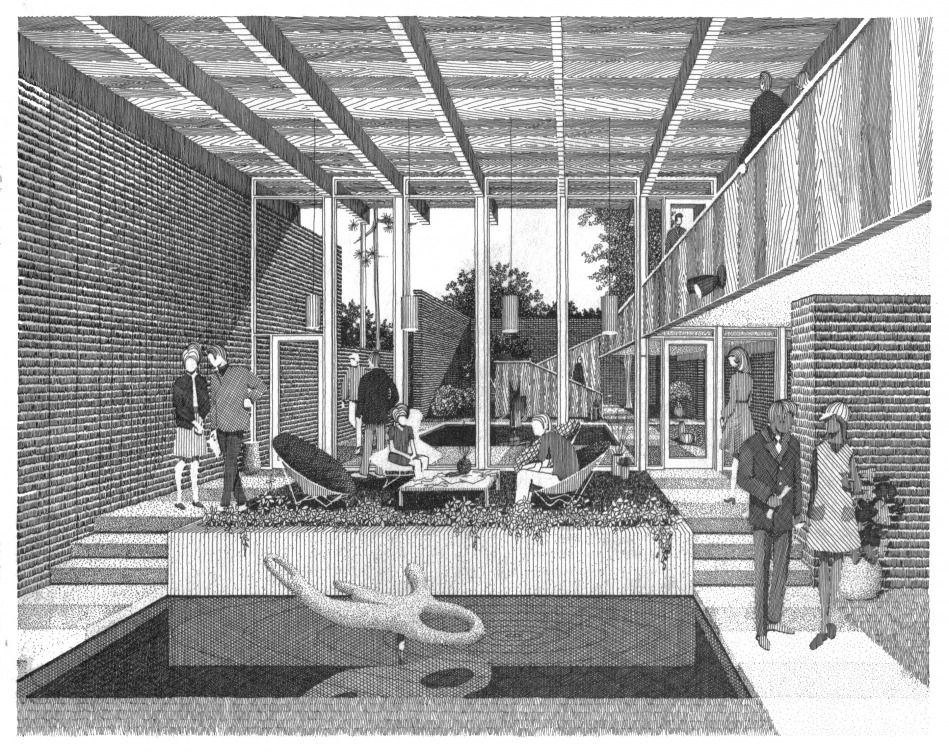 Interior architectural drawings perspectives for Raumgestaltung prasentation