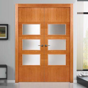 Sanrafael Lisa Glazed Double Door - Model K15VA3 Stain Rustic Oak Prefinished. #rusticoakdoors #glazeddoubledoors #internaloakdoubledoors