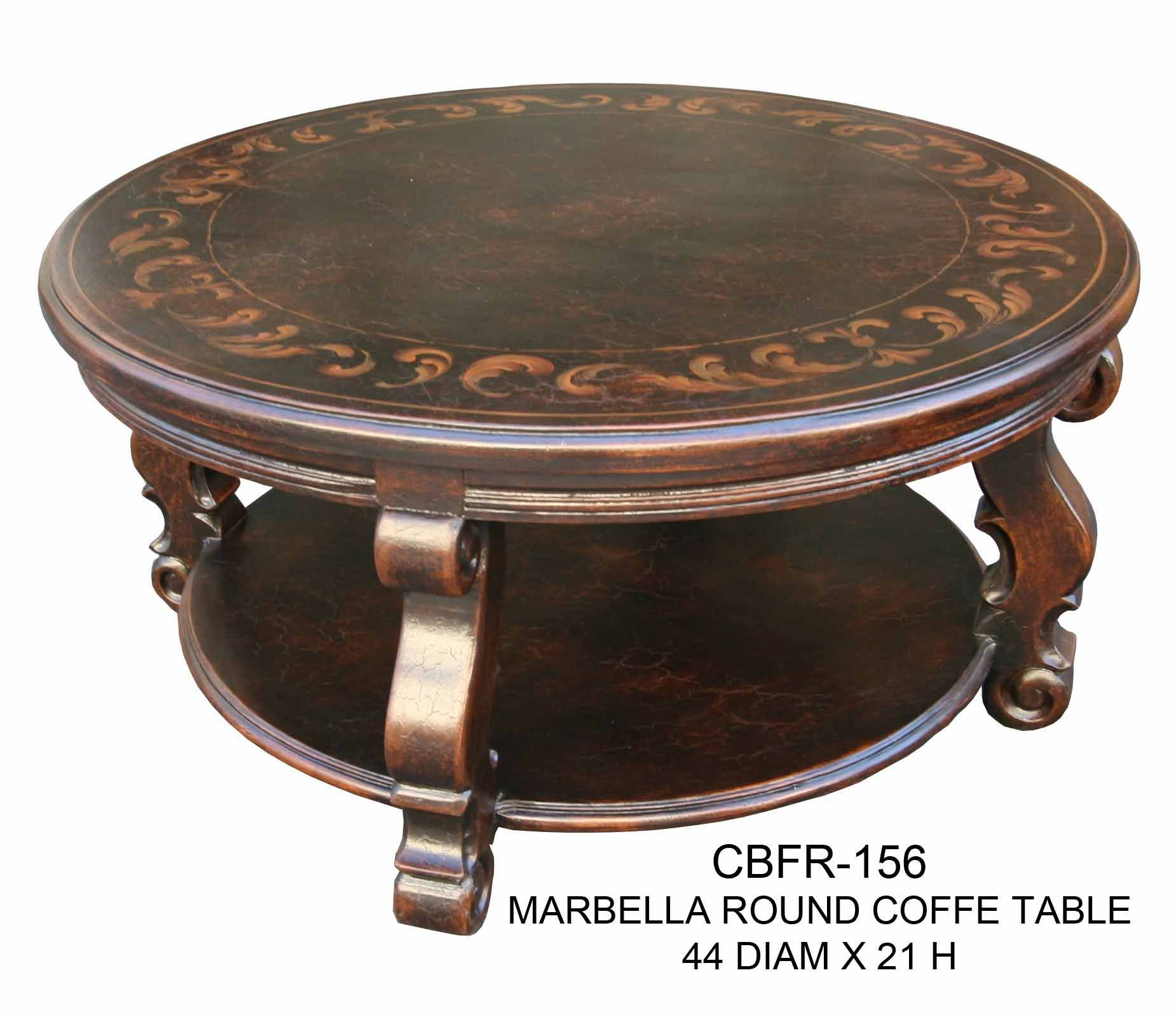 Marbella Round Coffee Table 44 Diam X 21 H Mediterranean Tuscan Style A Classic Elegant Handcrafted Coffee Table Elegant Coffee Table Coffee Table Vintage [ 1600 x 1850 Pixel ]