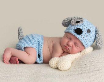 Cachorro recién nacido sombrero bebé niño por emmascozyattic ... b976ac1d1ef