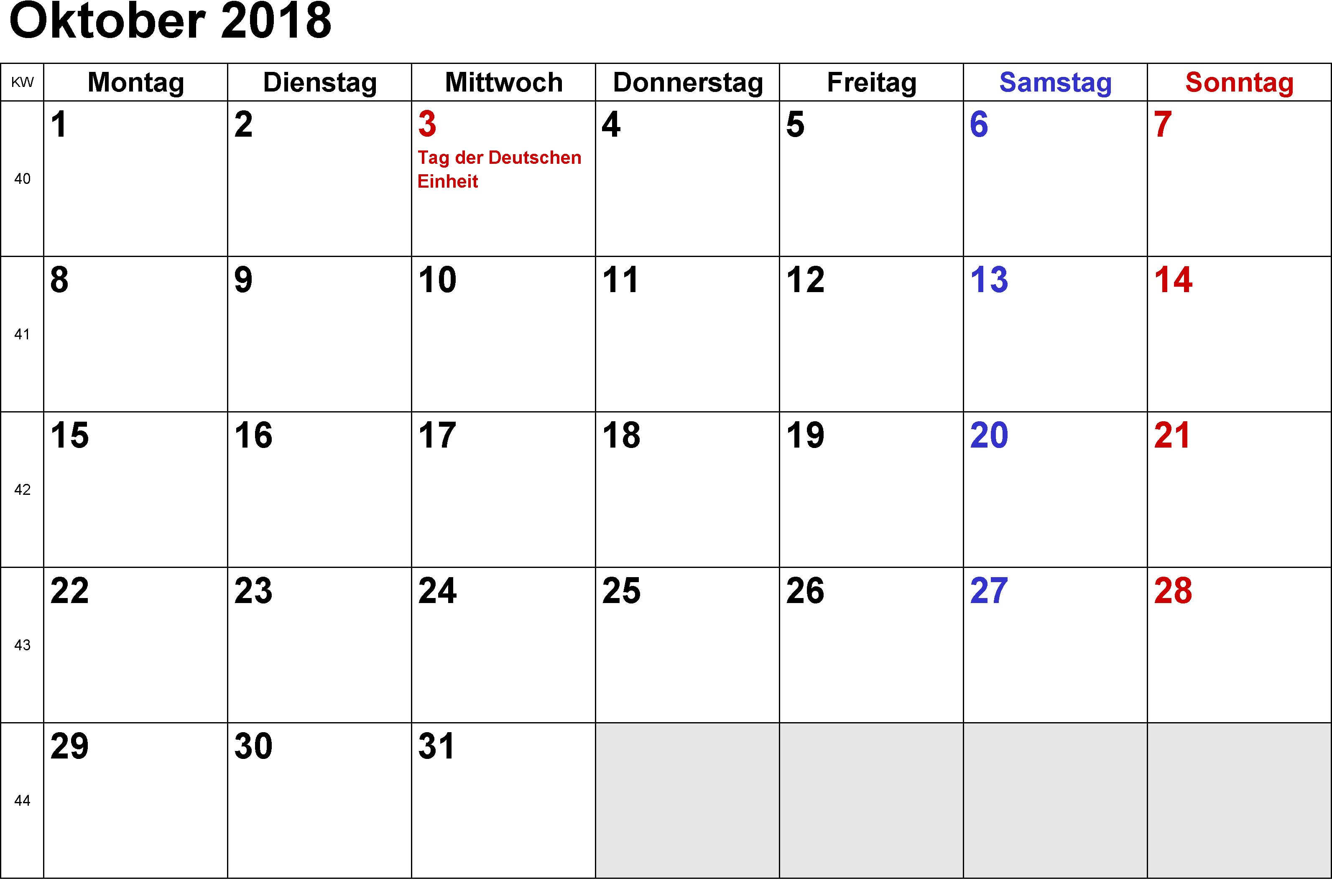 Kalender Oktober Mit Feiertagen