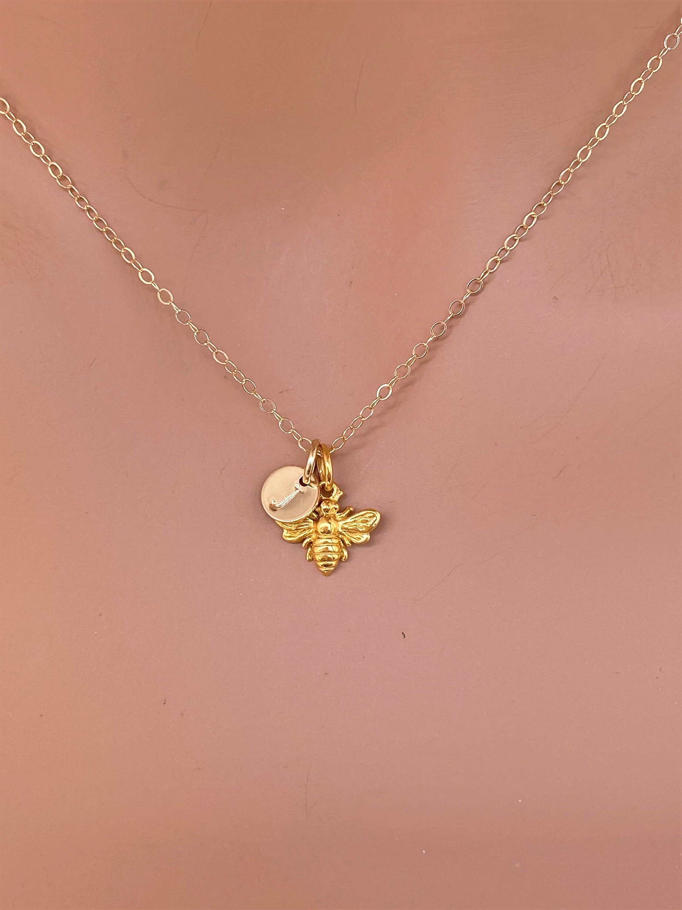 Personalized Bee Necklace 14k Solid Gold Honeybee Necklace Etsy In 2020 Real Gold Chains Bee Necklace Bumble Bee Necklace