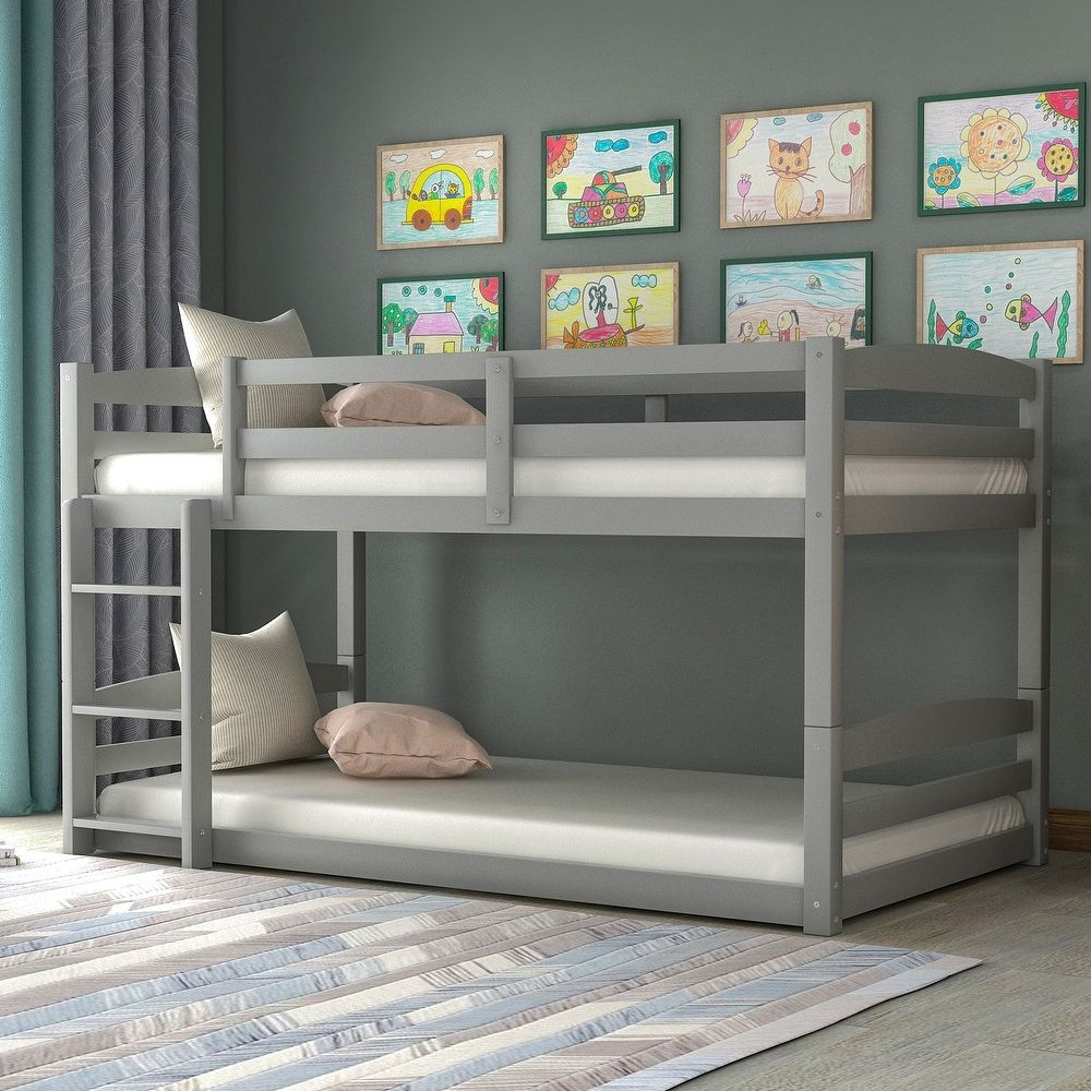 Twin Over Twin Bunk Bed Separable Gray Twin In 2020 Twin Bunk Beds Kids Bunk Beds Kid Beds
