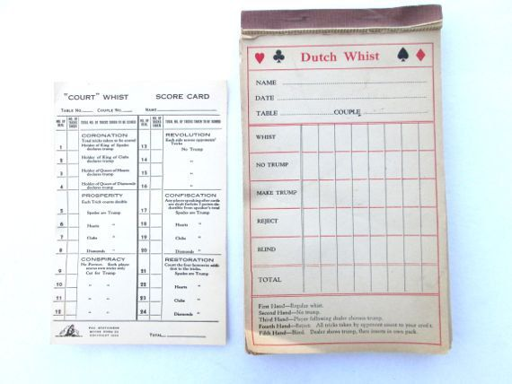 Vintage Game Score Card Dutch Whist Paper Ephemera By Elmplace 10 00 Paper Ephemera Cards Vintage Games