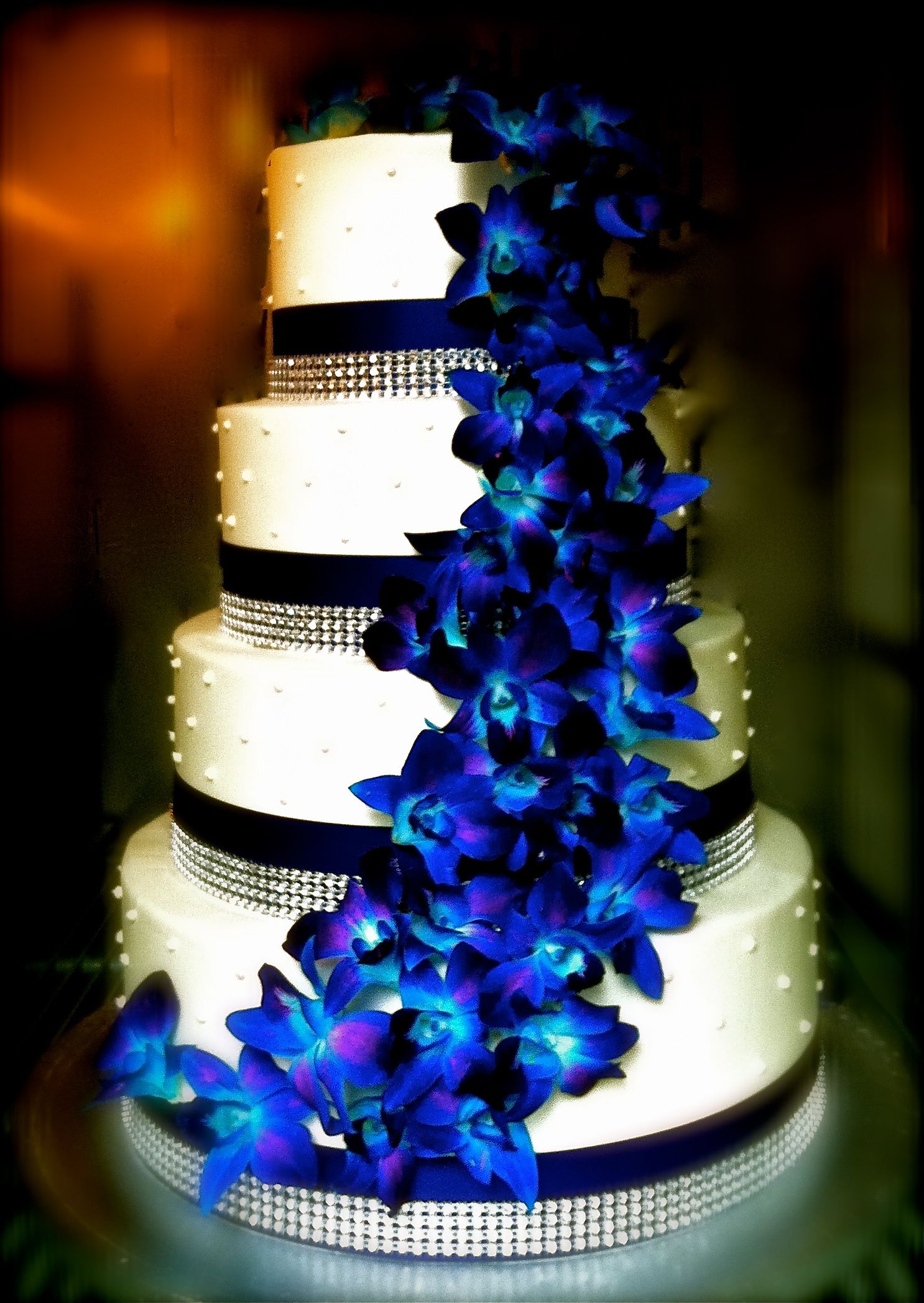 Blue Orchid Bling Wedding Cakes Pinterest