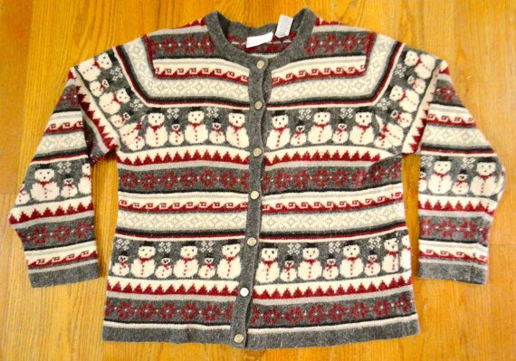 Vintage Snowman Themed Button Up Christmas Sweater Unisex Small