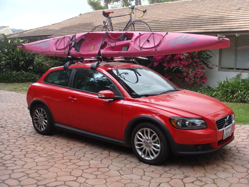 Volvo C30 With A Whole Lot Of Stuff On The Roof Rack Bike Kayak
