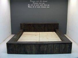 Los Steigerhout Kopen.Tweepersoons Blok Bed Van Nieuw Steigerhout B180xl200cm Blackwash