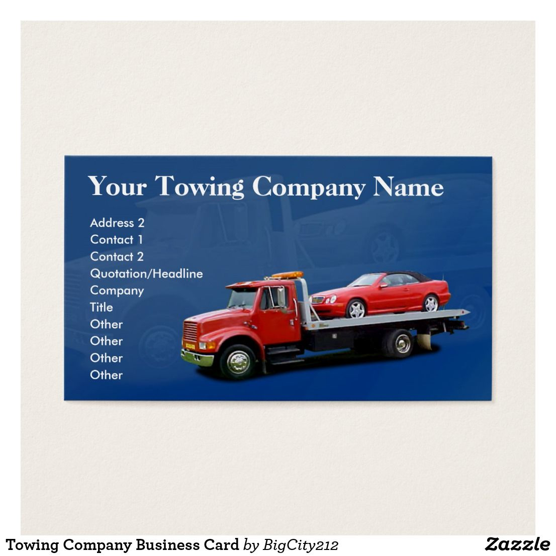 Towing Company Business Card Zazzle Com Company Business Cards