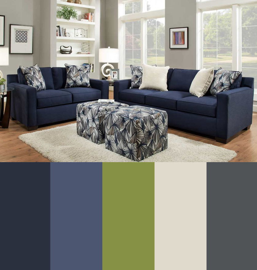 This Warm Color Scheme Of Navy Blue Green Tan And Charcoal Gray Is Inspi Blue Sofas Living Room Blue Living Room Color Scheme Green Living Room Color Scheme