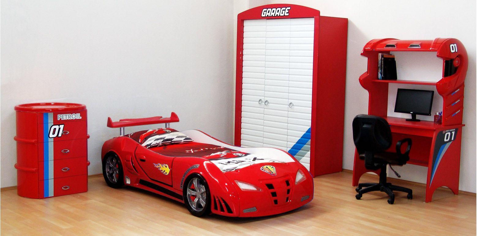 Eckkleiderschrank kinderzimmer  4-Teiliges Kinderzimmer besteht neben einem Autobett aus einem ...