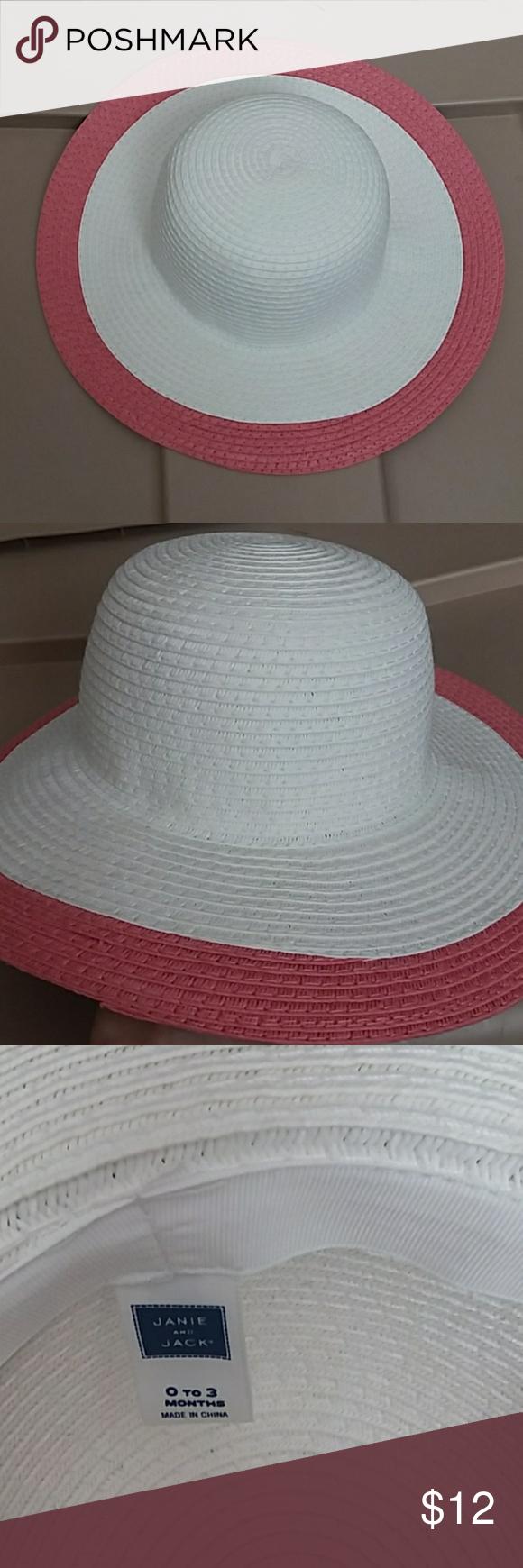 Janie And Jack Pink And White Straw Hat Janie And Jack Pink Straw Hat