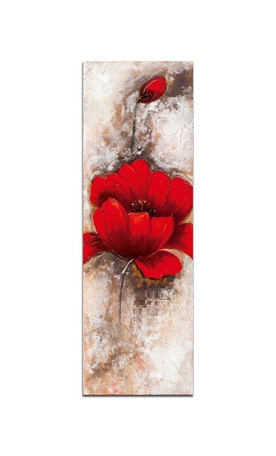Fleurs toile verticale rouge acrylique 30x90 pier import