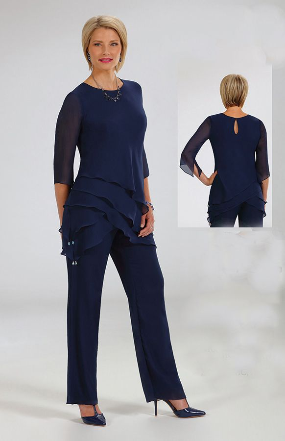 Navy Blue Pant Suit For Wedding