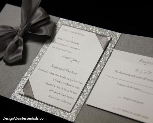 Embossed Pebble Wedding Pocket Fold Invitation Suite W Bow