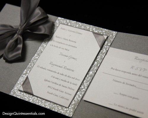 pewter embossed pebble wedding tri fold invitation suite