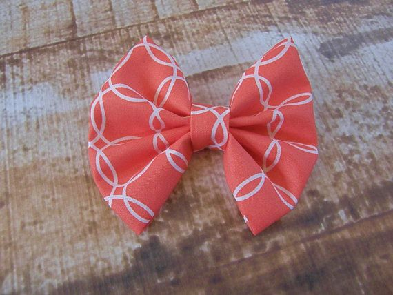 CLEARANCE Coral and White  Bow Clip Headband by SouthernStitchesCo