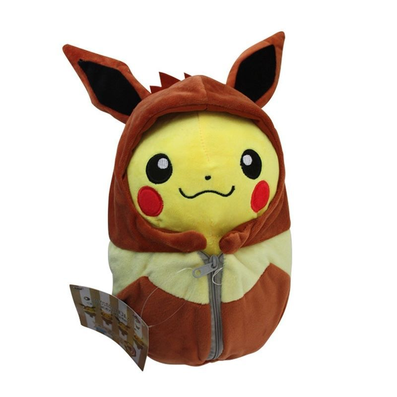 Baby pikachu bag stuffed plush toy in brown color