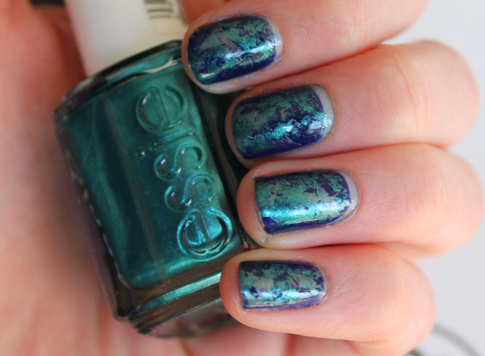 Cling film nail art tutorial. Blue, green, silver, shimmer. OPI ...