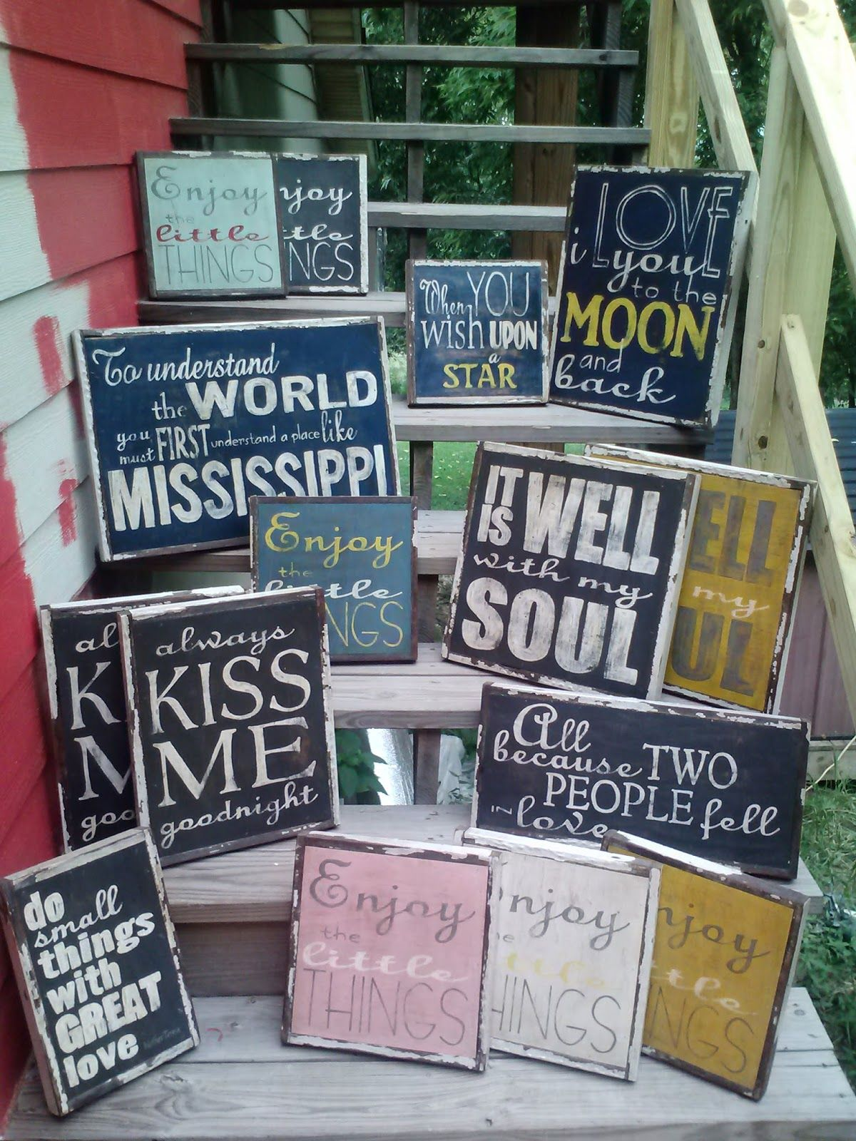 Wood signs from Little Red Porch