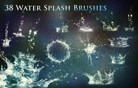 38 Water Splash Brushes Water Splashing Photoshop Brushes Photoshop Design