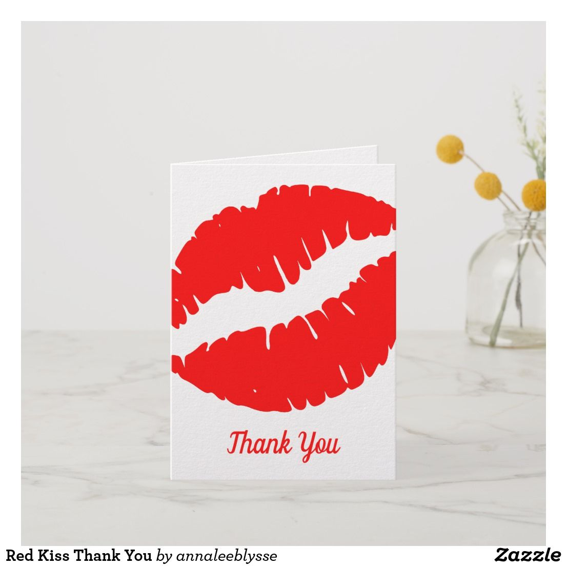 Red Kiss Thank You Card Zazzle Com Thank You Cards Customized