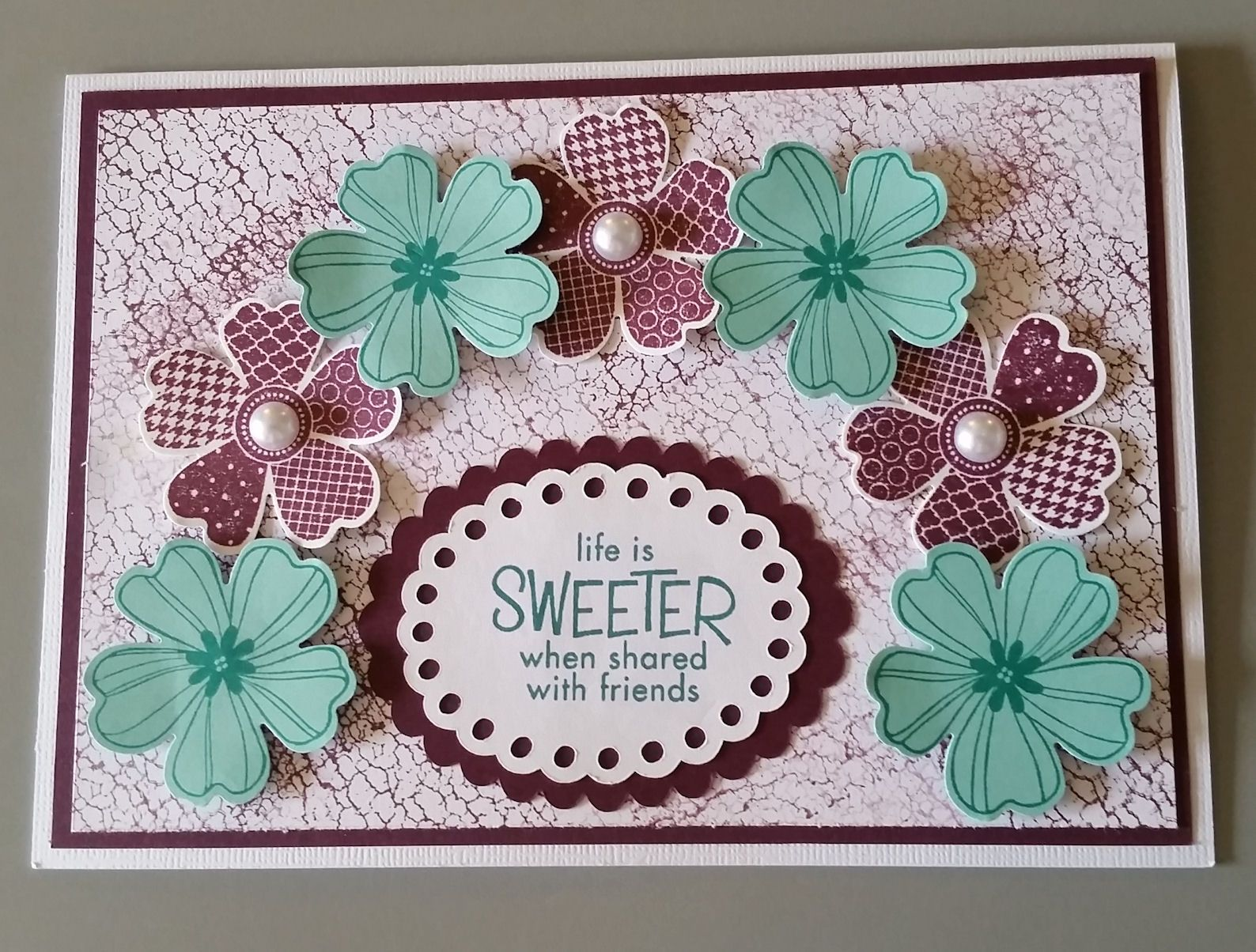 Card designed by sandy made with stampin up flower shop stamp set