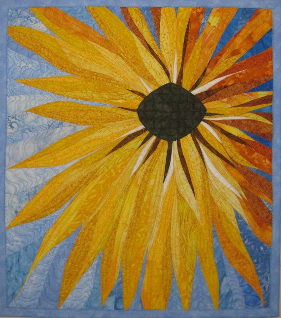 Art Quilt Yellow Flower, Wall Quilt Flower, Quilted Wall Hanging ...